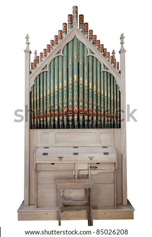 Church organ isolated on white