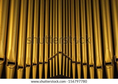 church organ pipes - stock photo