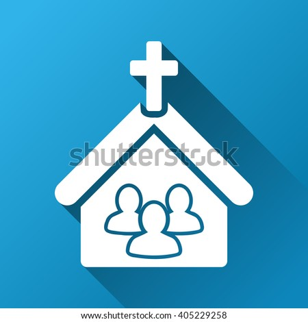 Church People glyph toolbar icon for software design. Style is a white symbol on a square blue background with gradient long shadow. - stock photo