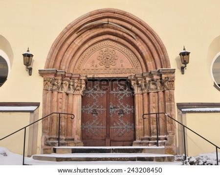 church portal ,village Nossen,Germany - stock photo