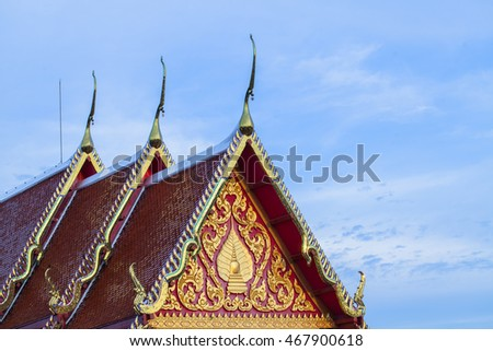 Church roof of the temple Thailand