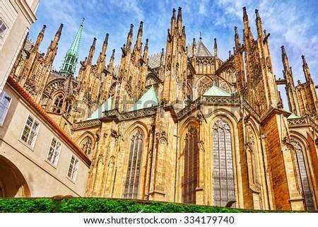 Church Saint Vitus, Ventseslaus and Adalbert in area Lesser Town of Prague( Mala Strana). Czech Republic. - stock photo
