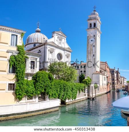 Church Santa Maria Formosa in the Castello, Venice, on a bright sunny day - stock photo