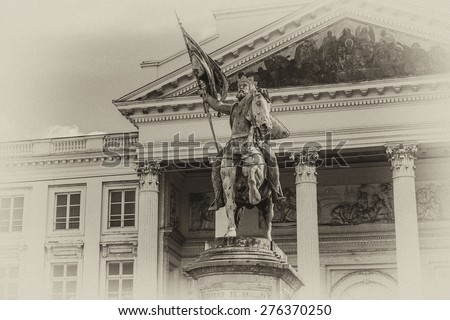 Church St Jacques at Coudenberg (Sint-Jacob-op-Koudenberg) - neoclassical church located in historic square of Place Royale. Brussels, Belgium. Antique vintage. - stock photo