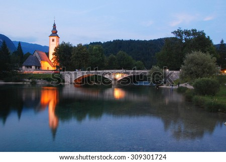 Church Stara Fuzina at Lake Bohinj in Slovenia