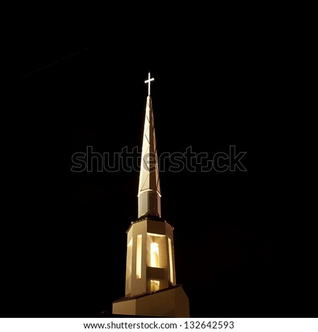 Church Steeple at night