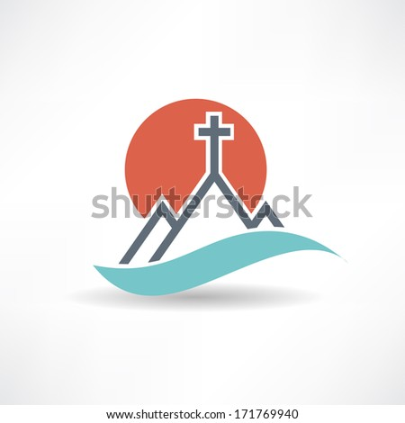 church sun abstract icon - stock photo