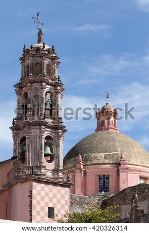 church tower details in Mexico