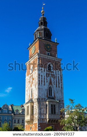 Church tower in Krakow in a summer day, Poland