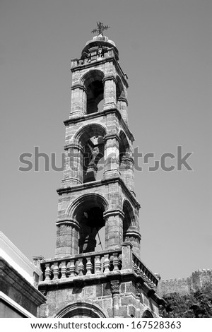 church tower in Lindos on Rhodes island, Greece