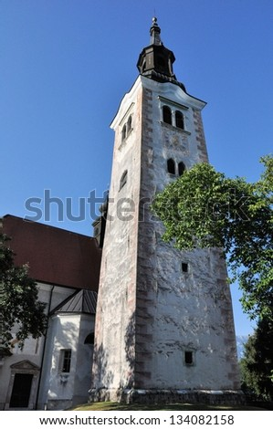 Church tower of Pilgrimage Church of the Assumption of Mary, Bled Island, Lake Bled, Slovenia.