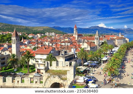 Church towers inside the old town of Trogir, Croatia - stock photo