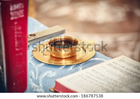 church utensil on an altar - stock photo