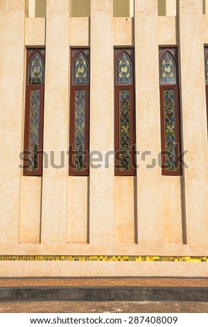 Church Wall Showing Glass Decoration Thailand Stock Photo 287408009 ...