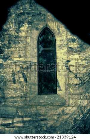Church window - Computer designed highly detailed grunge textured background - collage.