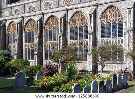 Church windows, Cromer, Norfolk, England - stock photo
