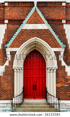church with red door - stock photo