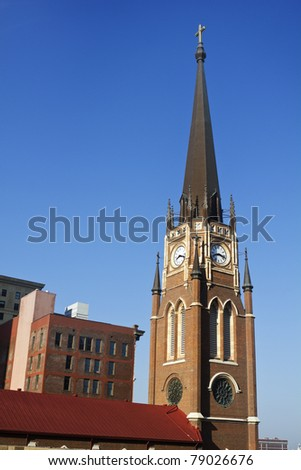 Church with the clock tower - downtown of Louisville, Kentucky - stock photo