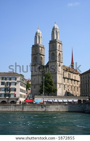 Church with the name Grossmuenster in Zurich - stock photo