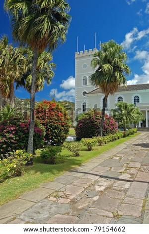 Church with tropical garden on Saint Vincent island - stock photo