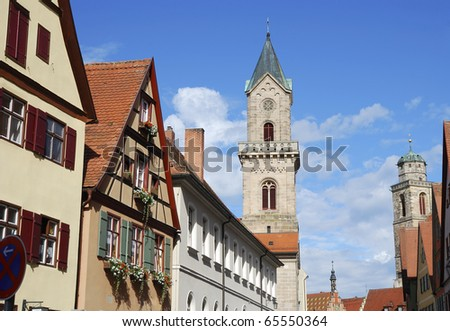 Churches in the old town of Dinkelsbühl (Franconia,Germany)