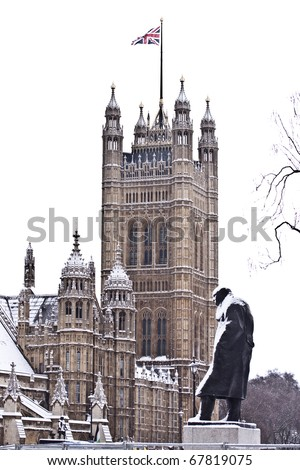 Churchill monument in winter - stock photo
