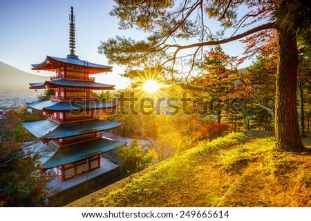 Chureito Pagoda with sun flare, Fujiyoshida, Japan - stock photo