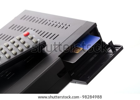 CI slot in satellite receiver - stock photo