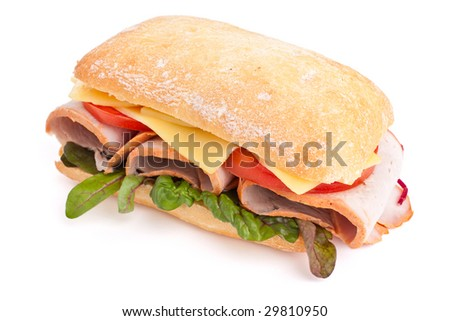 Ciabatta bread sandwich stuffed meat,cheese and vegetables