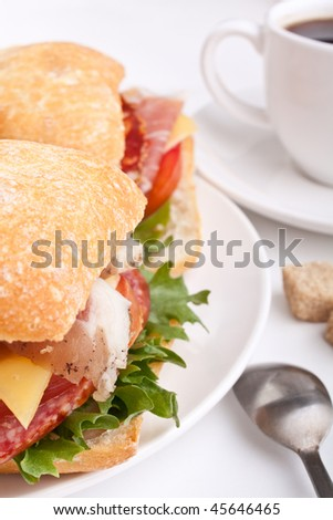 Ciabatta bread sandwich stuffed with meat, cheese and vegetables - stock photo