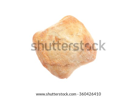 Ciabatta isolated on white. Top view.