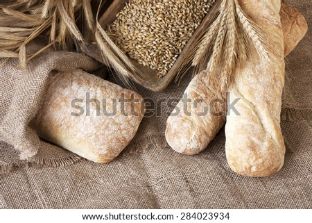 Ciabatta with baguette - stock photo