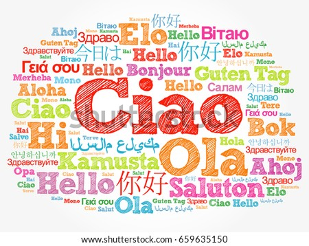 Ciao hello greeting italian word cloud stock illustration 659635150 ciao hello greeting in italian word cloud in different languages of the world m4hsunfo