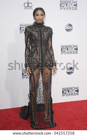 Ciara at the 2015 American Music Awards held at the Microsoft Theater in Los Angeles, USA on November 22, 2015. - stock photo