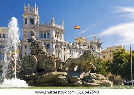 Cibeles Fountain - a fountain in the square of the same name in Madrid - stock photo