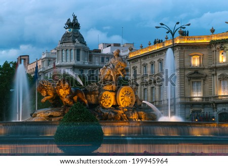 Cibeles Fountain at Night, Madrid, Spain - stock photo