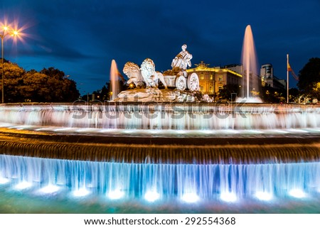 Cibeles fountain at Plaza de Cibeles in Madrid in a beautiful summer night, Spain - stock photo