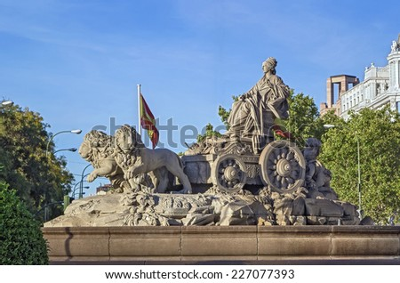 Cibeles Fountain is one of the most famous monuments of architecture of Madrid located on the Cibeles square in the Centre of Madrid, Spain