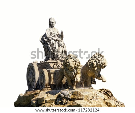 Cibeles fountain isolated on white background. One of the best known symbols of the city of Madrid, Spain - stock photo
