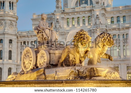 Cibeles Fountain located downtown Madrid, Spain - stock photo