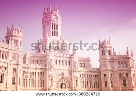 Cibeles palace in Madrid. - stock photo