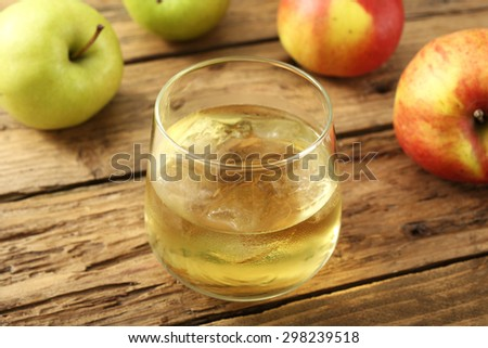 cider  on rustic wooden table