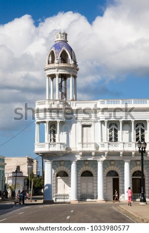 Cienfuegos, Cuba - 2012, December 4 : The Ferrer palace which is a famous neoclassical building in the Parque Jose Marti in the center of the southern city of Cienfuegos, Cuba