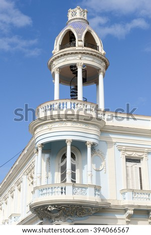 Cienfuegos, Cuba - 18 January 2016: Cuban colonial architecture - Old Town of Cienfuegos (UNESCO World Heritage Site).