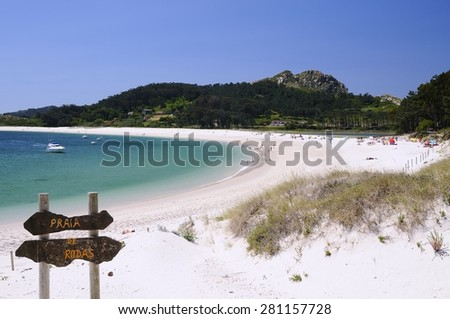 Cies Islands, National Park Maritime-Terrestrial of the Atlantic Islands of Galicia in Spain. - stock photo