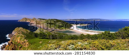 Cies Islands, National Park Maritime-Terrestrial of the Atlantic Islands of Galicia, Spain. - stock photo