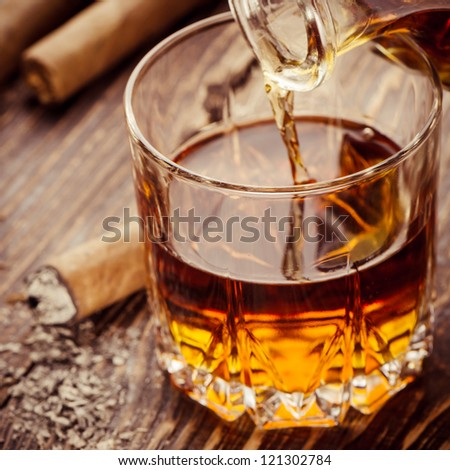 Cigar And Cognac - stock photo
