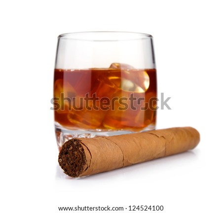 Cigar and glass of whiskey with ice concept isolated on white background