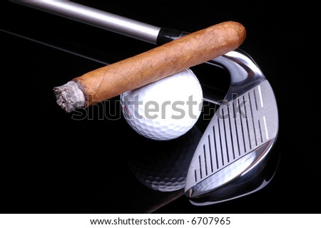 Cigar on Golf Ball and Golf Club on black background with reflections - stock photo