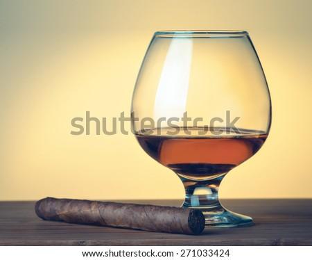 Cigar, whiskey - stock photo
